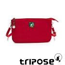 tripose漫遊系列岩紋x微皺尼龍斜背皮夾包 紅色