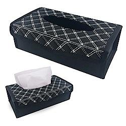 【車的背包】車用面紙盒菱格手工車線款-黑底白線款
