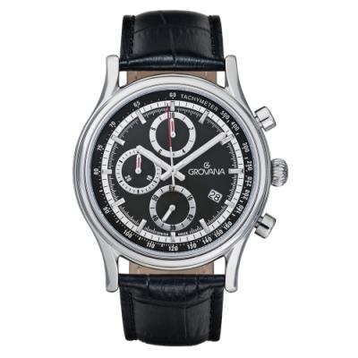 (福利品) GROVANA瑞士錶 Specialties系列三眼計時石英男錶(1730.9537)-黑面x黑色皮帶/41mm