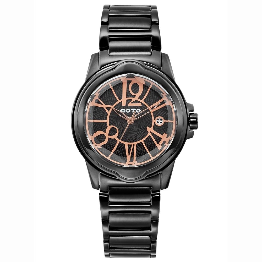 GOTO 個性歌德時尚手錶-IP黑/43mm