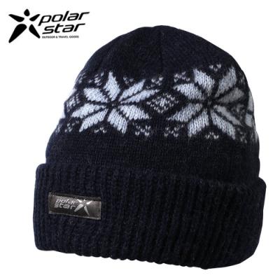 PolarStar 台灣製 反摺橫條羊毛保暖帽 P13606『深藍』
