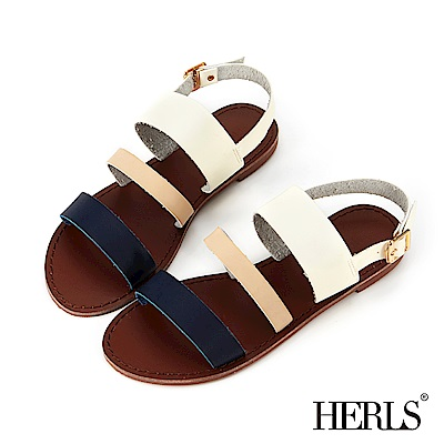 HERLS 度假氣息 三橫帶平底涼鞋-白X藍