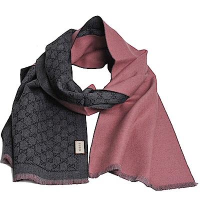 GUCCI SU LONAR 經典GG LOGO羊毛雙面寬版造型圍巾(灰LOGO/粉紅)