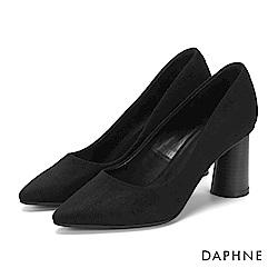 達芙妮DAPHNE 高跟鞋-純色絨面圓柱木紋高跟鞋-黑