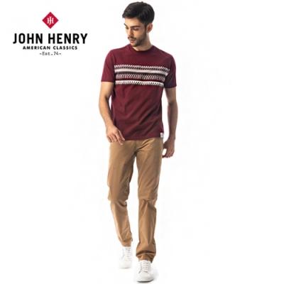 【JOHN HENRY】雙面帶狀圖騰短袖T恤-紅