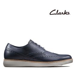 Clarks 步步清新 全皮面復古簡約風正裝休閒鞋 海軍藍