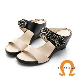 GEORGE 喬治皮鞋 簡約雙色一字帶楔型拖鞋-黑