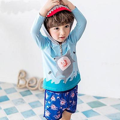 Biki比基尼妮泳衣   大鯊長袖泳衣兒童泳衣泳裝(S-2XL)