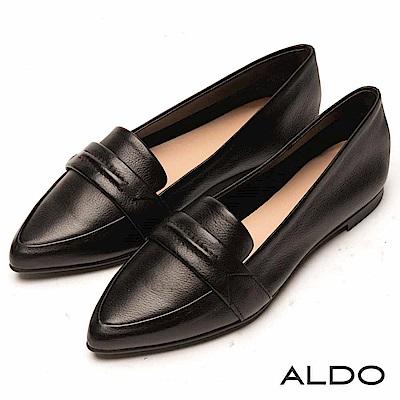 ALDO 原色真皮幾何一字鞋面尖頭鞋~尊爵黑色