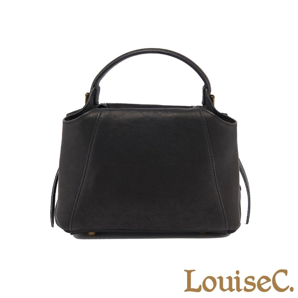【LouiseC.】植鞣革牛皮立體典雅小手提包-黑色 (WI190101-05)