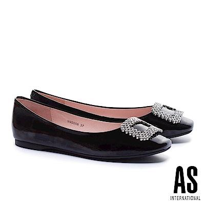 平底鞋 AS 晶鑽方釦超軟牛漆皮方頭平底鞋-黑