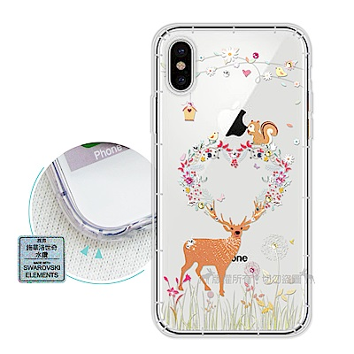 EVO iPhone X 異國風情 水鑽空壓氣墊手機殼(小鹿松鼠)