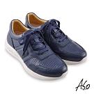 A.S.O 機能休閒 勁步健康異材綁帶休閒鞋-藍