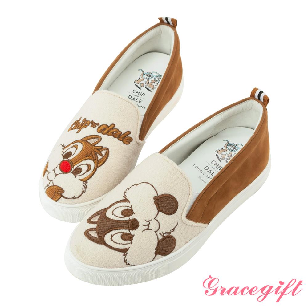 Disney collection by grace gift拼接電繡內增高懶人鞋棕