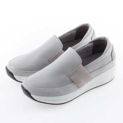 Camille's 韓國空運-正韓製-鬆緊寬帶拼接懶人休閒厚底鞋-灰色
