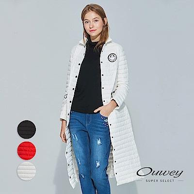 OUWEY歐薇 時尚貼繡長版羽絨外套(黑/白/紅)