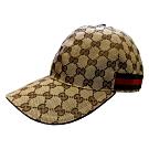 GUCCI 經典GG Supreme帆布綠紅綠織帶飾邊棒球帽(棕色)