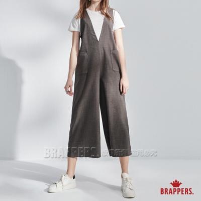 BRAPPERS 女款 Boy friend系列-V領連身吊帶寬褲-卡其綠