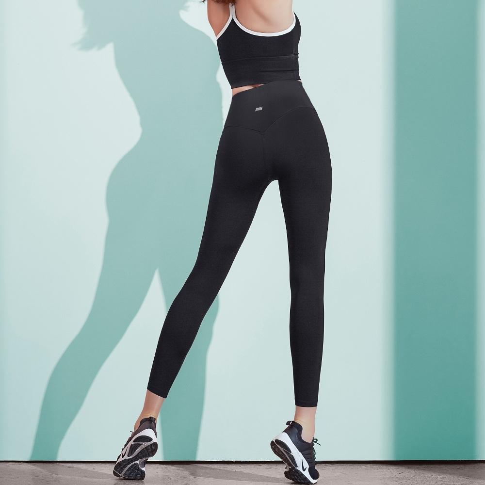 STL Pitch Heap legging 9 女高腰運動拉提運動緊身褲 巨光黑