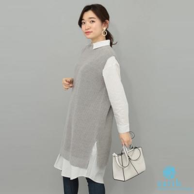 earth music 【SET ITEM】針織背心洋裝+長版襯衫上衣