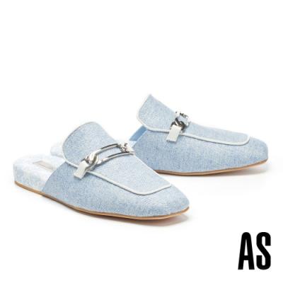 穆勒鞋 AS 慵懶格調斜紋布拼接羊皮方頭穆勒拖鞋-藍