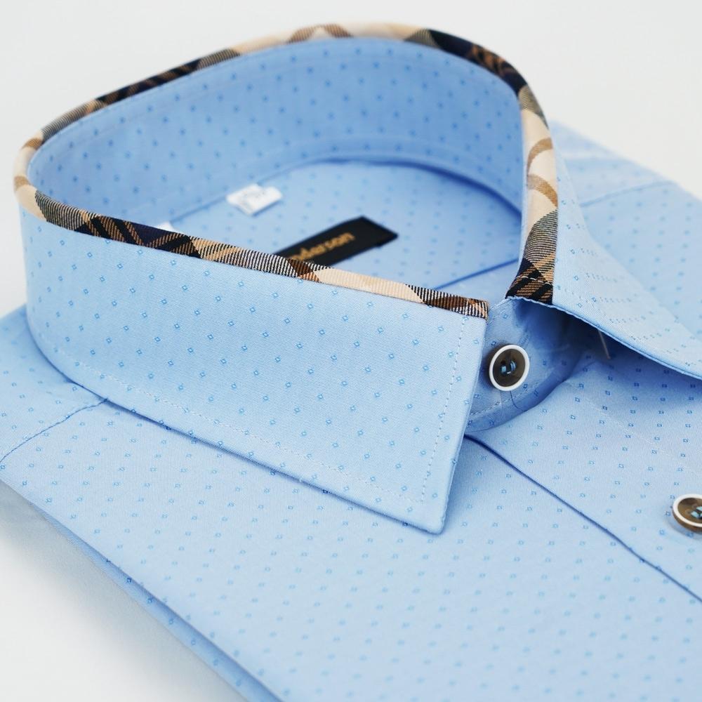【金安德森】經典格紋繞領藍色吸排窄版長袖襯衫