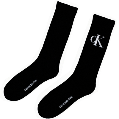 【Calvin Klein】ck LOGO男直筒厚底紳士襪(LOGOx素色兩雙組)