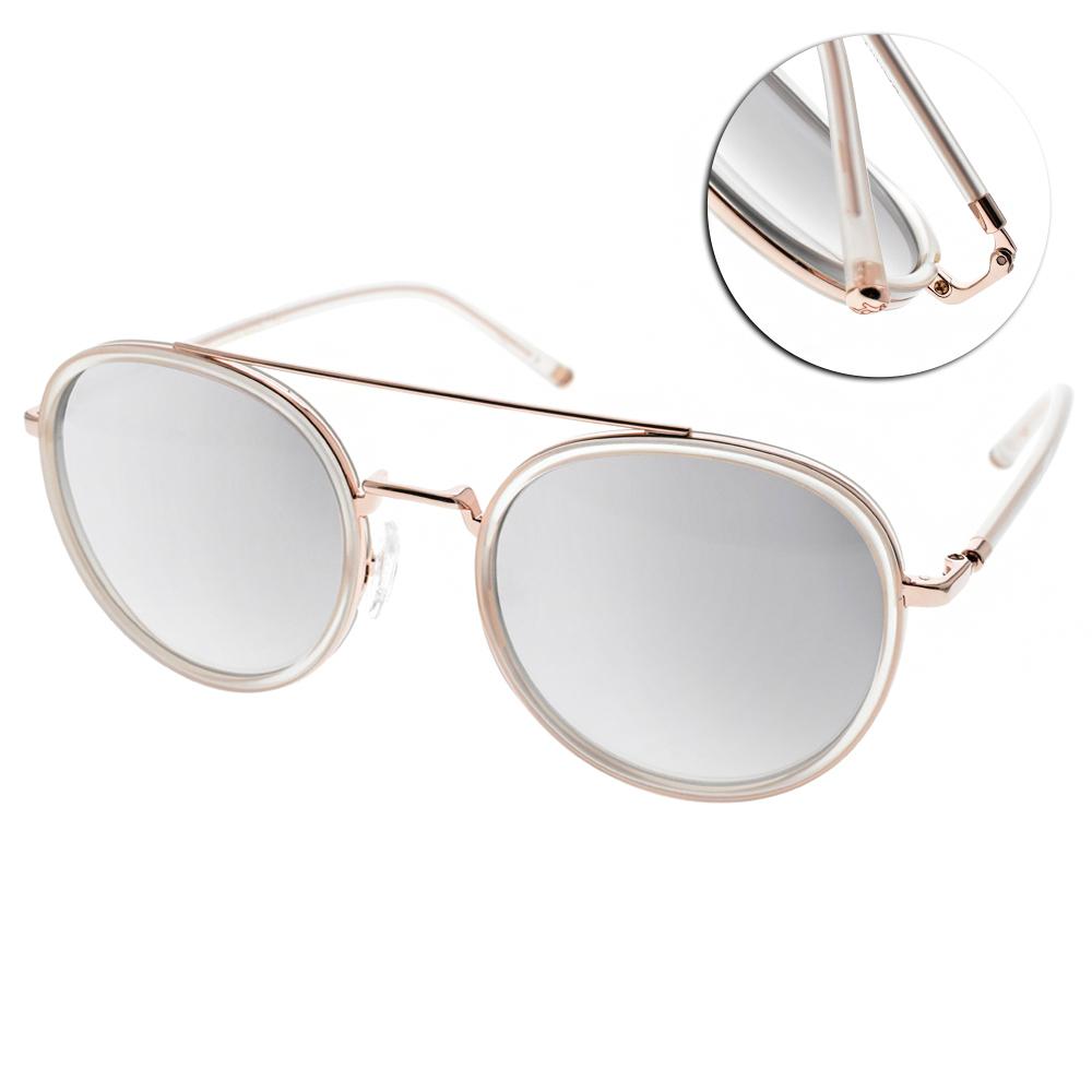 CARIN水銀太陽眼鏡 秀智代言 雙槓復古圓框款/透粉金 #ROMY C3