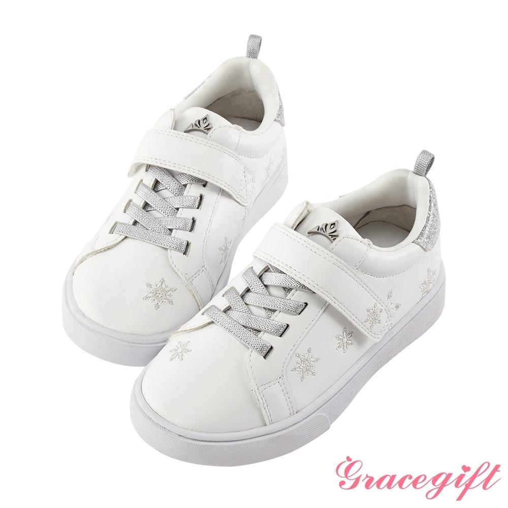 Disney collection by gracegift冰雪奇緣雪花刺繡童鞋 銀