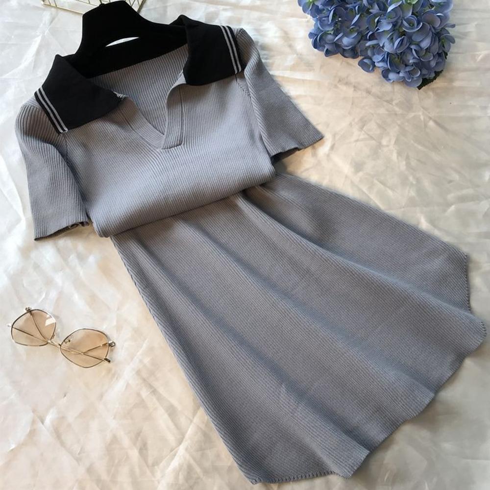 初色  修身顯瘦針織連身裙-共2色-(F可選)