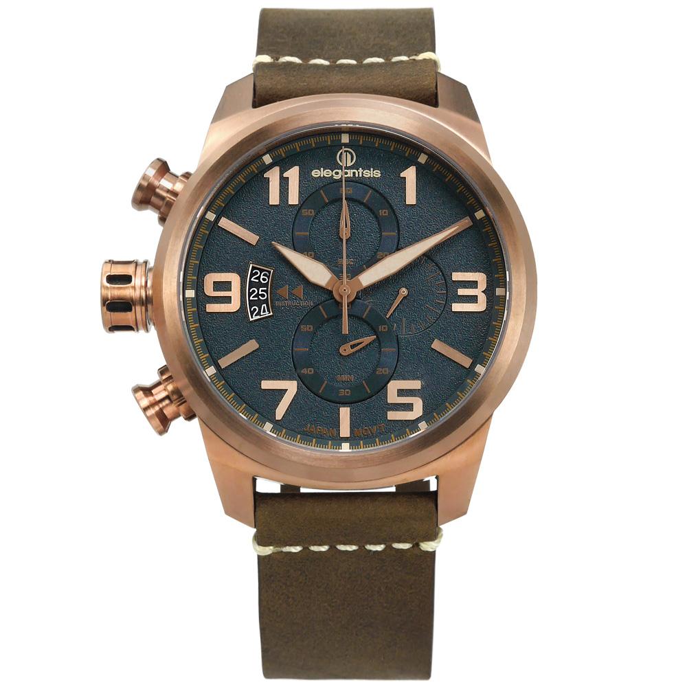 elegantsis / 復古軍事 藍寶石水晶玻璃 真皮手錶-藍x古銅金框x褐/46mm