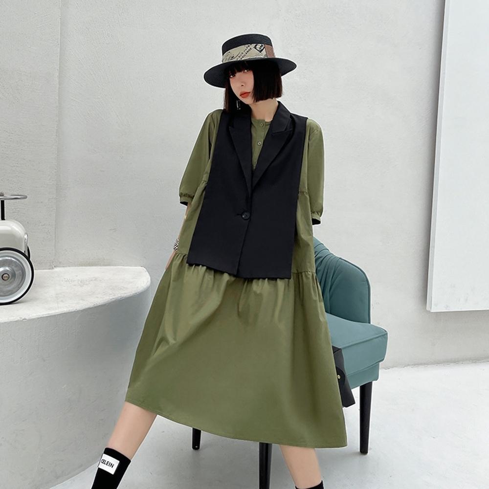寬鬆層次五分袖洋裝+馬甲披肩背心套裝M-XL(共二色)-CLORI
