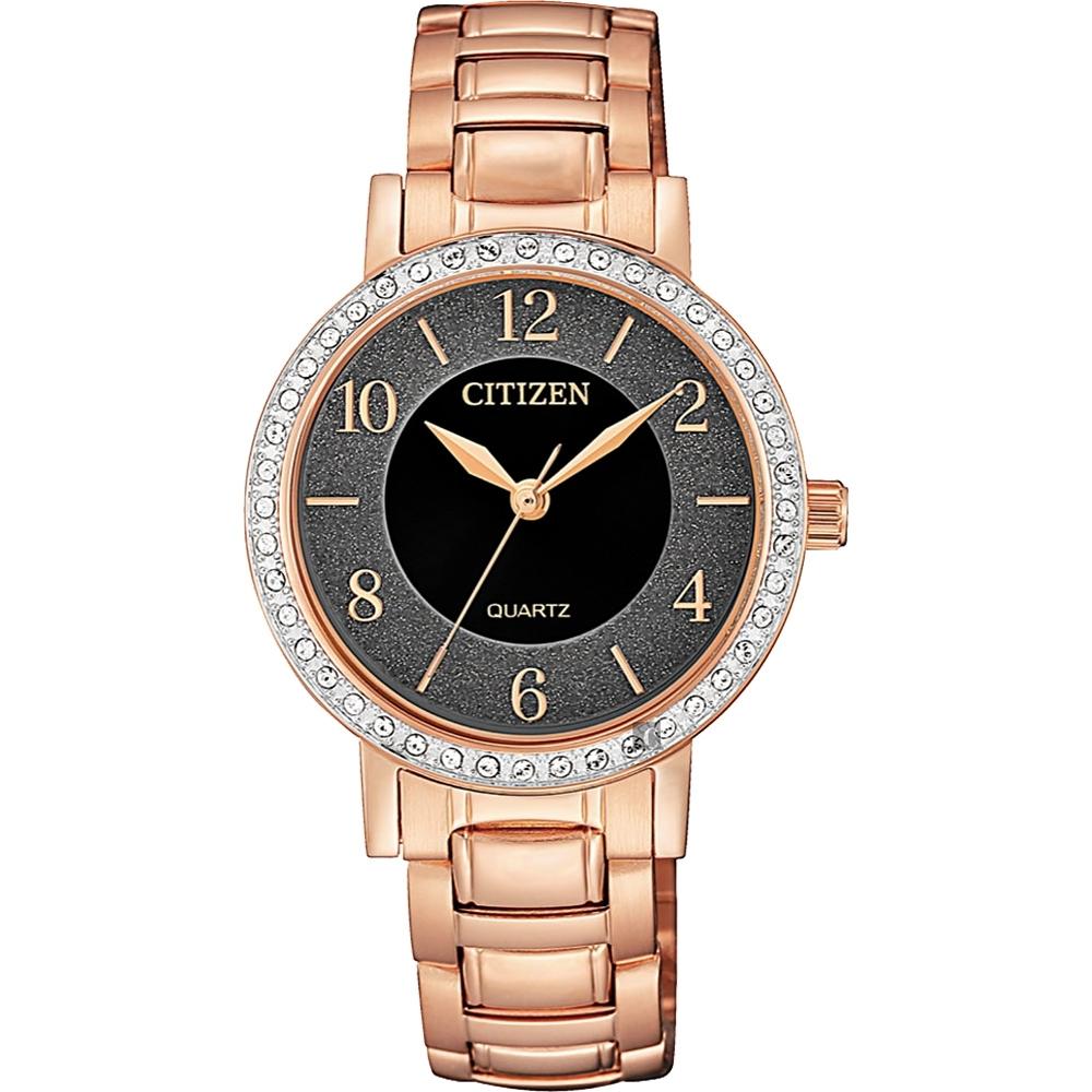 CITIZEN 星辰 限量水晶石英女錶-玫瑰金/31mm(EL3048-53E)