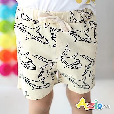 Azio Kids 短褲 滿版框線鯊魚鬆緊短褲(杏)