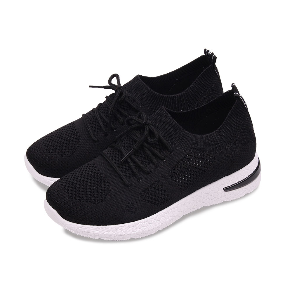 TTSNAP健走鞋-輕量飛梭織面綁帶慢跑休閒鞋 黑