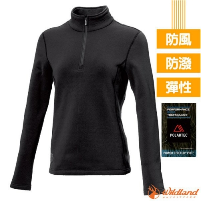 荒野 女 Polartec Pro 超強4向彈性控溫保暖排汗衣_黑 V