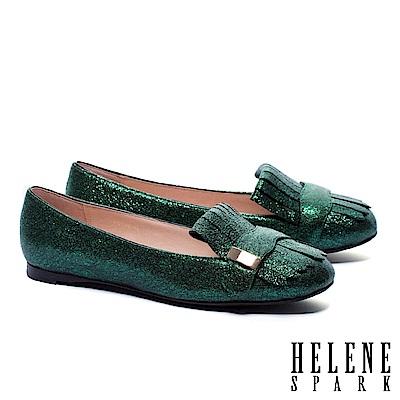 平底鞋 HELENE SPARK 璀璨迷幻流蘇金屬長方飾釦羊皮平底鞋-綠