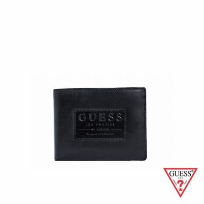 GUESS-男夾-極簡壓印皮革短夾-黑