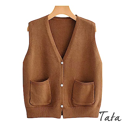 雙口袋V領針織背心 共三色 TATA