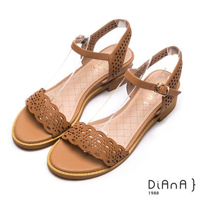 DIANA 優雅氣質-波浪雷射沖孔羊皮涼鞋-棕