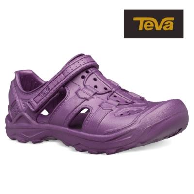 TEVA 原廠貨 中童 Omnium Drift 水陸輕量護趾涼鞋/雨鞋/水鞋-大岩桐紫