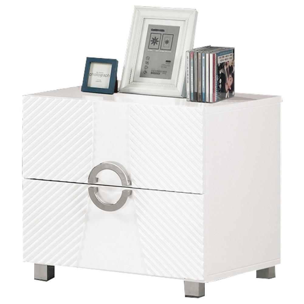 文創集 班西卡時尚白1.7尺二抽床頭櫃/收納櫃-50x40x47cm免組