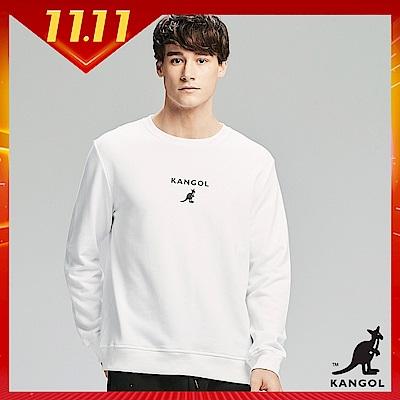 【KANGOL】背面大LOGO圓領上衣/大學T-男-白