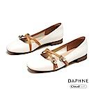 達芙妮DAPHNE 低跟鞋-優雅珠飾交叉繫帶瑪莉珍低跟鞋-米色