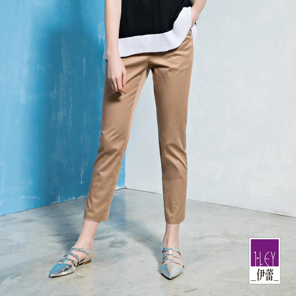 ILEY伊蕾 透氣棉質格紋剪接裝飾窄管褲(黑/可/藍)