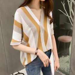 SQUA V領條紋拼接短袖上衣-二色-(M~XL)