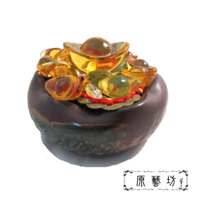 原藝坊荷葉造型陶瓷 招財元寶/聚寶盆(不含蓋)