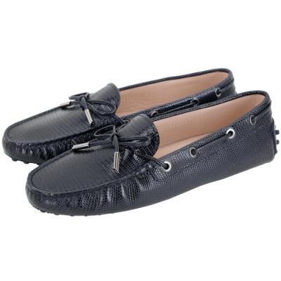 TOD'S Rubber Driving 蜥蜴壓紋牛皮綁帶豆豆休閒鞋(女鞋/夜藍色)