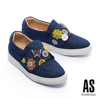 休閒鞋 AS 繽紛蝶舞造型刺繡厚底休閒鞋-藍