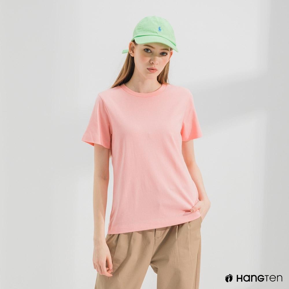 Hang Ten-女裝-環保纖維厚磅織標短袖T恤-粉色
